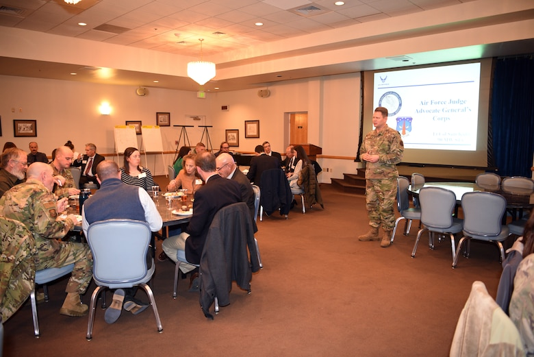 Col. Peter Bonetti, commander of the 90th Missile Wing, addresses a visiting group from the local chapter of the American Inns of Court during a tour on base Nov. 7, 2019, on F. E. Warren Air Force Base, Wyo. Members of the Inns of Court included justices from the state supreme court, law professors from the University of Wyoming, and local attorneys. The tour was intended to promote stronger relationships between the base legal professionals and their local civilian counterparts. (U.S. Air Force photo by Glenn S. Robertson).