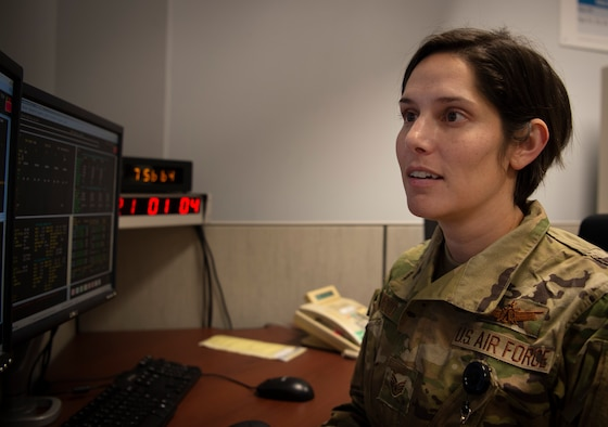 Staff. Sgt. Kesa Wood, 6th Space Operations Squadron trainee, maintains the health of a Defense Meteorological Satellite Program at Schriever Air Force Base, Colorado, Nov. 18, 2019. The DMSP is a satellite constellation that has a low Earth orbit and orbits the Earth's poles. The satellite constellation provides meteorological and atmospheric data to government and civil agencies. (U.S. Air Force photo by Airman 1st Class Jonathan Whitely)