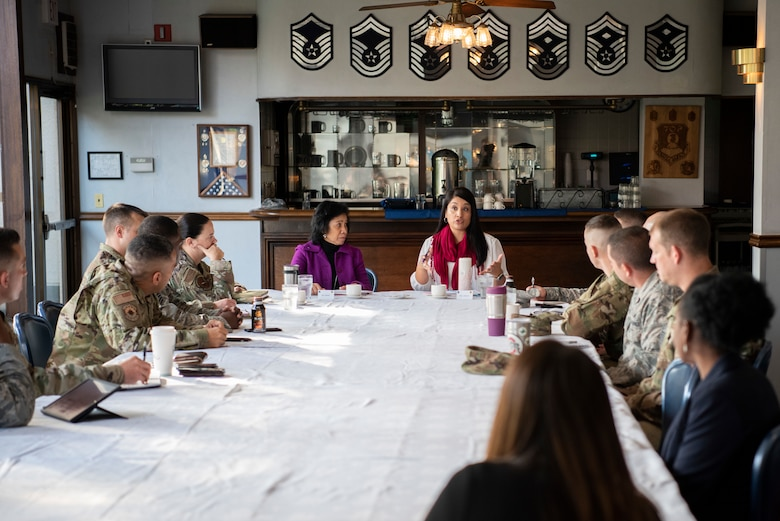 Sharene Brown, spouse of Gen. CQ Brown, Jr., Pacific Air Forces commander, and Stephanie Johnson, spouse of Chief Master Sgt. Anthony Johnson, PACAF command chief, meet with first sergeants on Nov. 14, 2019, at Yokota Air Base, Japan.