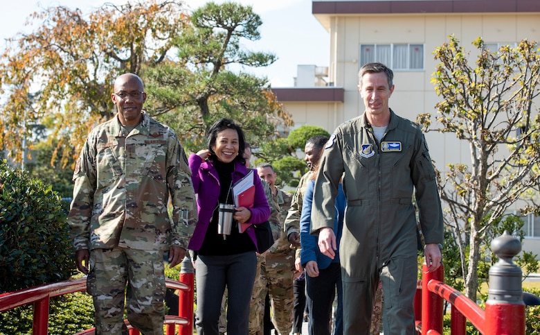 Gen. CQ Brown, Jr., Pacific Air Forces commander, and Lt. Gen. Kevin B. Schneider, U.S. Forces Japan and 5th Air Force commander, walk through the 374th Operations Group Garden, Nov. 14, 2019, at Yokota Air Base, Japan.
