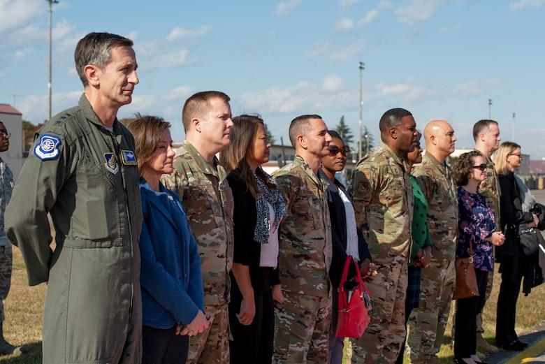 The departure party sends off Gen. CQ Brown, Jr., Pacific Air Forces commander, Nov. 14, 2019, at Yokota Air Base, Japan.