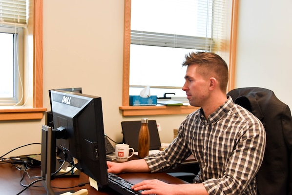 Jacob Stephens, U.S. Army Corps of Engineers (USACE), New Orleans District Assistant Counsel, works at the USACE Far East District for two months as temporary duty to assist with the district's Office of Counsel, Camp Humphreys, South Korea, Nov. 13.
