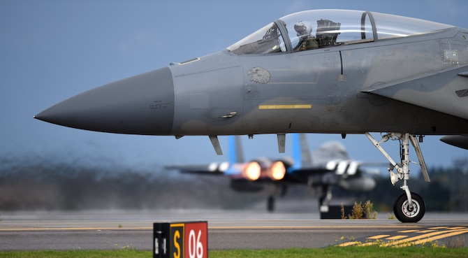 An F-15C Eagle assigned to the 493rd Fighter Squadron taxis on the flightline in support of  exercise Point Blank 19-8 at Royal Air Force Lakenheath, England, Nov. 14, 2019 The purpose of Point Blank is to exercise large force capabilities that incorporate current and future wartime scenarios. (U.S. Air Force photo by Airman 1st Class Madeline Herzog)