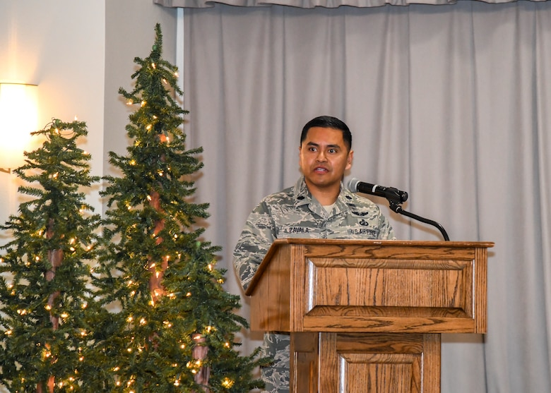 Lt. Col. Ever Zavala, Commander of Detachment 1, 47th Cyberspace Test Squadron, 96th Cyberspace Test Group, 96th Test Wing, provides remarks following the detachment's activation ceremony at Edwards Air Force Base, California, Nov. 19. (Air Force photo by Giancarlo Casem)
