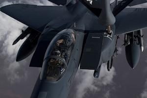A U.S. Air Force KC-135 Stratotanker refuels A U.S. Air Force F-15 Strike Eagle over northern Iraq, Nov. 6, 2019.