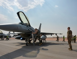 U.S. Air Force Lt. Gen. Joesph Guastella, U.S. Air Forces Central Command commander, departs departs an F-16 Fighting Falcon assigned to the 555th Fighter Squadron at Prince Sultan Air Base, Kingdom of Saudi Arabia, Nov. 11, 2019.