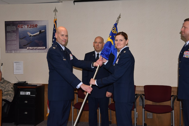 Lieutenant Col. Jeannie Jeanetta takes command of the 128th Communications Flight during a change of command ceremony October 6, 2019, at the 128th Air Refueling Wing, Wisc. The 128 CF provides highly skilled communicators trained in various information and communications systems technologies.