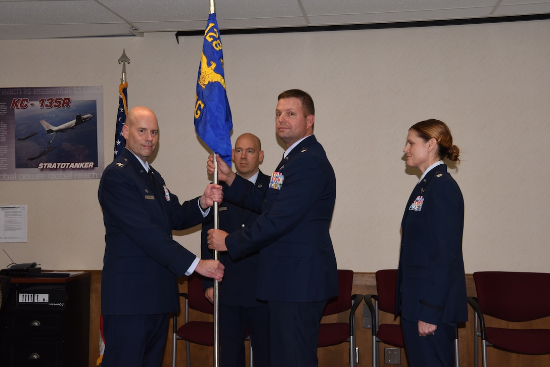 Lieutenant Col. Thomas Mielcarek relinquishes command of the 128th Communications Flight during a change of command ceremony October 6, 2019, at the 128th Air Refueling Wing, Wisc. Mielcarek served as Commander for more than twelve years and led the 128 CF through significant operational changes over his tenure.