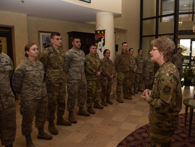 Airmen from units across Joint Base McGuire-Dix-Lakehurst, N.J., were recognized and coined by Gen. Maryanne Miller, Air Mobility Command commander, for their efforts in hosting the AMC civic leader immersion tour at Joint Base MDL, Nov. 7, 2019. AMC civic leaders experienced the mobility Airman's lifestyle by direct interaction with Airmen, briefs on different mission sets, observing training and wearing deployment gear. (U.S. Air Force photo by Airman 1st Class Briana Cespedes)
