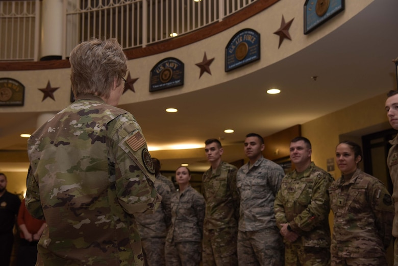 Gen. Maryanne Miller, Air Mobility Command commander, thanks Airmen who assisted throughout the three-day tour for their efforts in helping make the AMC civic leader immersion tour happen at Joint Base McGuire-Dix-Lakehurst, N.J., Nov. 7, 2019. AMC civic leaders learned about the missions across Joint Base MDL and what it takes for a mobility Airman to deploy. (U.S. Air Force photo by Airman 1st Class Briana Cespedes)