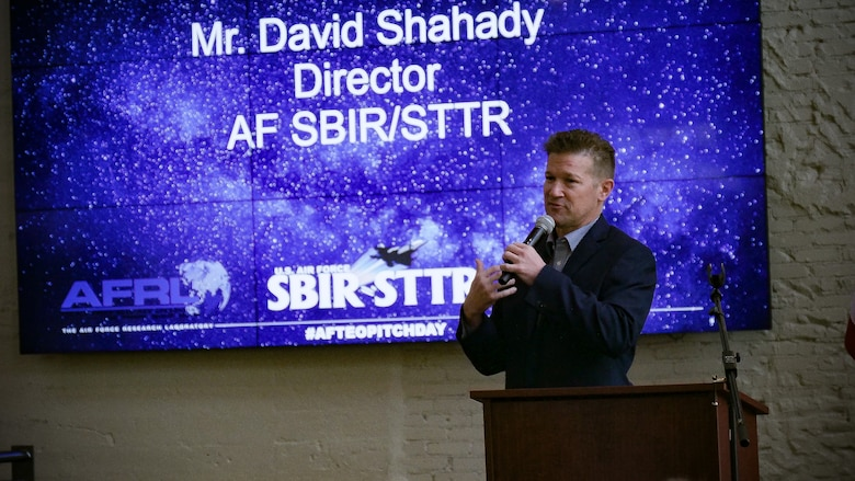 David Shahady, Director, AF SBIR/STTR, delivers opening comments to attendees of the first Air Force Technology Executive Officer Pitch Day Nov. 15 at the Steam Plant and the Wright Brothers Institute in Dayton. (U.S. Air Force photo/Keith Lewis)