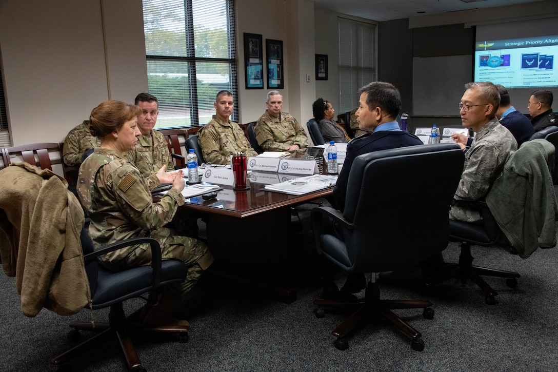Col. Terri Jones, the Eaker Center for Leadership Development commander, discusses the Eaker Center's role in developing Air Force leaders with members of the Republic of Korea Air Force Chaplain Corps during a visit to Air University Nov. 14, 2019, at Maxwell, Air Force Base, Alabama. Jones also expounded on the Air Force Chaplain Corps College task of providing initial and continuing skill-set training and education for Chaplain Corps personnel at key milestones in their careers.