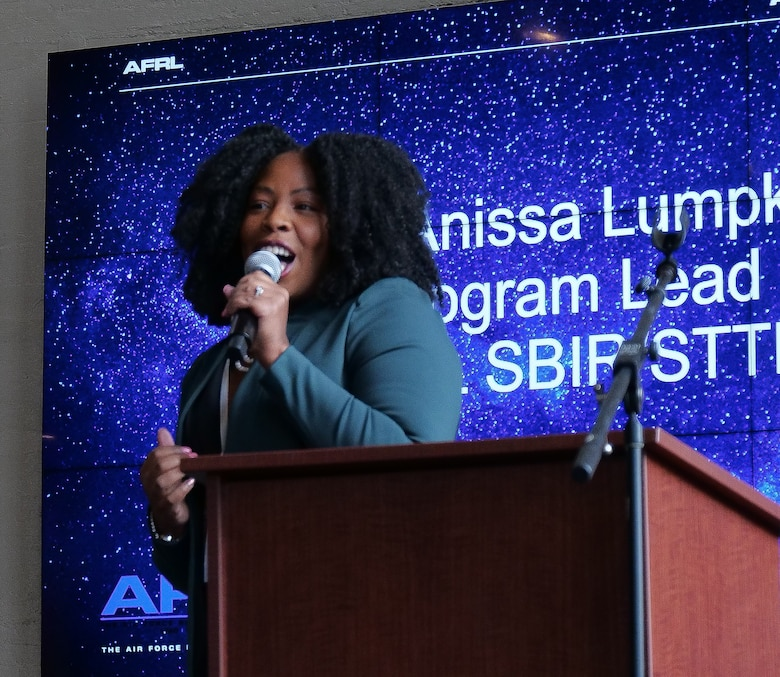 Anissa Lumpkin, AFRL Center Lead for the AF SBIR/STTR program, welcomes attendees of the first Air Force Technology Executive Officer Pitch Day Nov. 15 at the Steam Plant and the Wright Brothers Institute in Dayton. (U.S. Air Force photo/Keith Lewis)