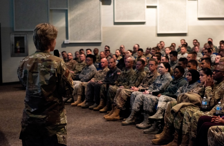 Gen. Maryanne Miller, Air Mobility Command commander speaks to the 375th Air Mobility Wing during an all call at Scott Air Force Base, Ill., Nov. 18, 2019.