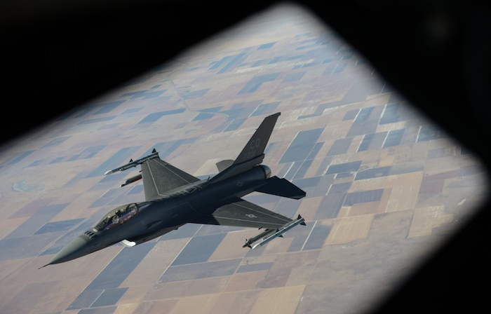 The U.S. Air Force F-16 Falcon from Colorado Air National Guard's 140th Wing based in Aurora, breaks away from a KC-135R Stratotanker assigned to the Nebraska Air National Guard's 155th Air Refueling Wing based in Lincoln, after being refueled on November 2, 2019. The F-16 Fighting Falcon is a single-engine supersonic multirole fighter. The F-16 Fighting Falcon is a single-engine supersonic multirole fighter.U.S Air National Guard photo by Staff Sgt Jason Wilson