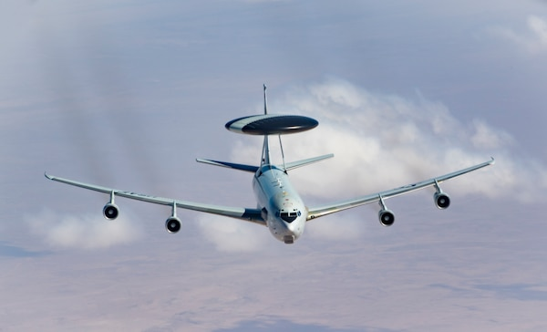 A U.S. Air Force E-3 Sentry flies toward a KC-135 Stratotanker for refueling Feb. 28, 2019, while flying in support of Operation Inherent Resolve. The E-3 Sentry is an airborne warning and control system, or AWACS, aircraft with an integrated command and control battle management, or C2BM, surveillance, target detection, and tracking platform.  The aircraft provides an accurate, real-time picture of the battlespace to the Joint Air Operations Center. (U.S. Air Force photo/Staff Sgt. Clayton Cupit)