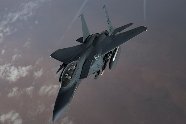 A U.S. Air Force F-15 Strike Eagle flies over northern Iraq, Nov. 6, 2019. U.S. Air Forces Central Command operations deter