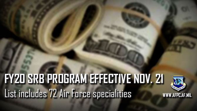 "Graphic of money bundles with text overlay stating ""FY20 SRB Program effective Nov. 21; List includes 72 Air Force specialties."""