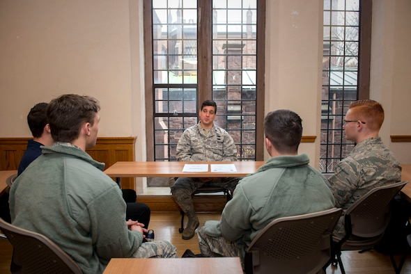 Maj. Vincenzo Gallo of the 103rd Airlift Wing, Connecticut Air National Guard, speaks to cadets assigned to Air Force ROTC Detachment 009 at Yale University, during a panel discussion, November 14, 2019. The discussion was held to meet ROTC training objectives, which require cadets to gain exposure to the operational Air Force environment by interacting with active Air Force members. (U.S. Air National Guard photo by Tech. Sgt. Tamara R. Dabney)