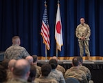 Gen. CQ Brown Jr. Pacific Air Forces commander, listens to a question from an Airman during an all-call at Yokota Air Base, Japan, November 14, 2019. During his visit, Brown spent two days with Yokota's Airmen, discussing the vital role Yokota Air Base plays in maintaining regional security and stability.