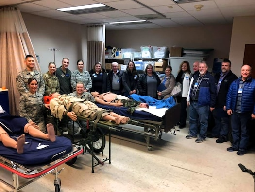 The 932nd Airlift Wing welcomed employers of Air Force Command reservists at the Illinois unit based at Scott Air Force Base during Boss Day, held Nov. 17,  2019. Here the 932nd Medical Group showed off their simulated patients and discussed medical training among nurses and emergency medical technicians.  The day long event is an annual special project worked out over several months, culminating in a day long visit that was highly-praised by the bosses visiting from various companies. On hand to brief them was a representative from the Employer Support of the Guard and Reserve to thank them for their support. (U.S. Air Force by Lt. Col. Stan Paregien)
