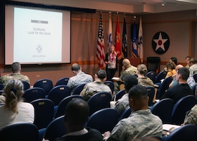 Dr. Jill Antonishak guides a seminar on resilient thinking on Joint Base Pearl Harbor-Hickam, Hawaii, Nov. 19, 2019. She taught three seminars relating to resilience, preventing burnout, and strengthening relationships. (U.S. Air Force photo by Airman 1st Class Erin Baxter)