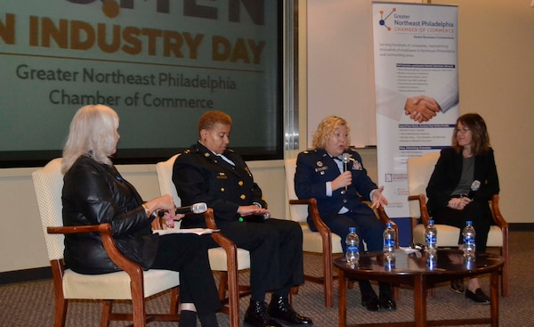 "DLA Troop Support Project Manager Air Force Reserve Lt. Col. Susan McMullen, center right, shares her personal story of being a woman in the military alongside fellow panelists Greater Northeast Philadelphia Chamber of Commerce President Pam Henshall, left, City of Philadelphia Police Department Deputy Commissioner Robin Wimberly, center left, and FBI Special Agent Cerena Coughlin, right,  during the Chamber's annual Women in Industry Day event Nov. 20, 2019 at Holy Family University in Philadelphia. The Women in Industry Day event aims to ""broaden the conversation"" and expose women to various career opportunities. McMullen served as a panelist during the ""women in male-dominated industries"" discussion. (Photo by Alexandria Brimage-Gray)"