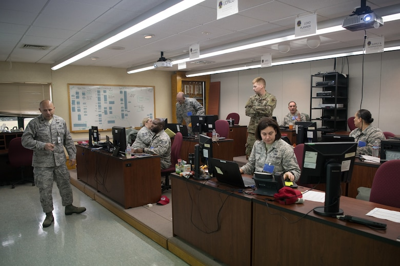 Airmen operate a command center