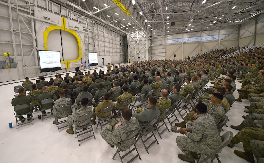Members of the 62nd Airlift Wing gather in a hanger for a commander's all-call on Joint Base Lewis-McChord, Wash., Nov. 15, 2019. The all-call was an opportunity for Col. Scovill Currin, 62nd Airlift Wing commander, and Chief Master Sgt. Rob Schultz, 62nd Airlift Wing command chief, to address the wing en masse.