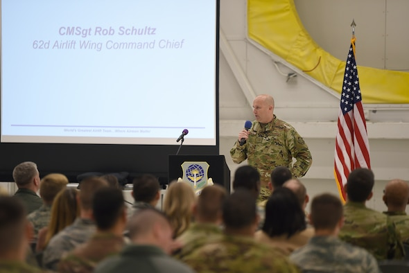 Chief Master Sgt. Rob Schultz, 62nd Airlift Wing command chief, address members of the 62nd Airlift Wing during an all-call on Joint Base Lewis-McChord, Wash., Nov. 15, 2019. This was the first time since filling the position of command chief that he publicly addressed the wing en masse.