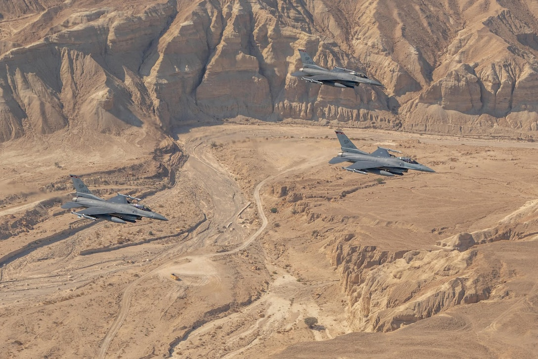 U.S. Air Force F-16 Fighting Falcons assigned to the 480th Expeditionary Fighter Squadron, fly over the desert during exercise Blue Flag 2019 at Uvda Air Base, Israel, November 15, 2019. Blue Flag provided members of the 480th EFS the opportunity to train with other partner nations in an different environment. (U.S. Air Force photo by Airman 1st Class Kyle Cope)