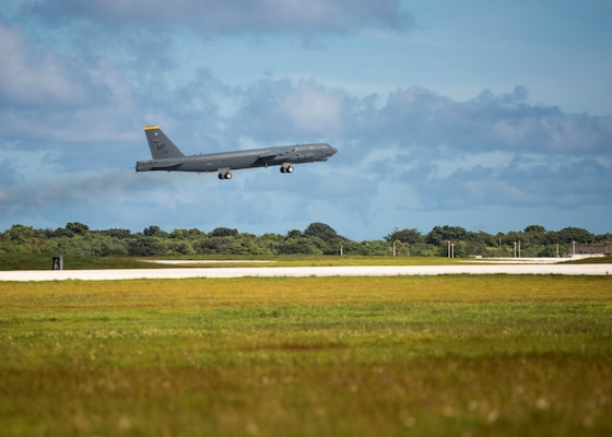 A B-52 Stratofortress from the 69th Expeditionary Bomb Squadron, deployed from Minot Air Force Base, N.D., takes off Nov. 14, 2019, at Andersen Air Force Base, Guam. B-52s have held a vital role in supporting the Continuous Bomber Presence mission in the Indo-Pacific region since 2004. (U.S. Air Force photo by Airman 1st Class Zachary Heal)