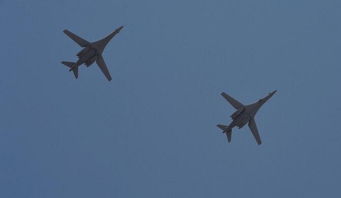 B1-B Lancers from Ellsworth Air Force Base arrive at Prince Sultan Air Base, Kingdom of Saudi Arabia, Oct. 25, 2109.
