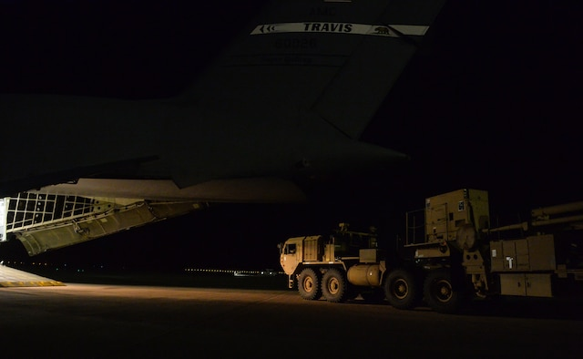U.S. Army Soldiers with the 4-5  Air Defense Artillery Battalion, unload a patriot launching   station from a C-5 Galaxy at Prince Sultan Air Base (PSAB), Kingdom of Saudi Arabia (KSA), October 23, 2109.