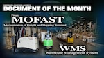 "The text ""DLA Document of the Month: From MOFAST to WMS"" is on the background of a busy warehouse."