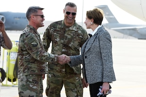 Secretary of the Air Force Barbara Barrett is greeted by Lt. Gen. Joseph Guastella, U.S. Air Forces Central Command commander, and Brig. Gen. Daniel Tulley, 379th Air Expeditionary Wing commander, after arriving at Al Udeid Air Base, Qatar on Nov. 17, 2019. During their first overseas trip, Barrett and Air Force Chief of Staff Gen. David L. Goldfein met with AUAB and Qatari leadership, held an all-call where they spoke to readiness, lethality and the future of the U.S. Air Force and visited Airmen and the facilities where they work and live. (U.S. Air Force photo by Tech. Sgt. Ian Dean)