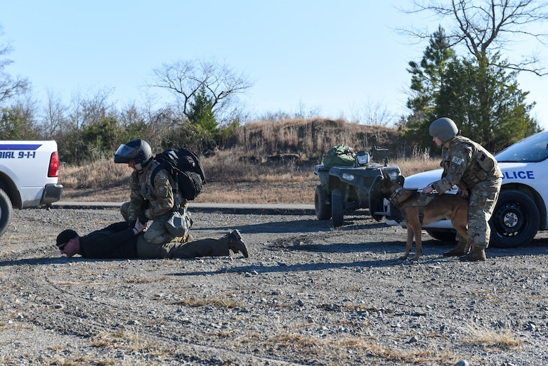 airmen from security forces and a military working dog take down an individual