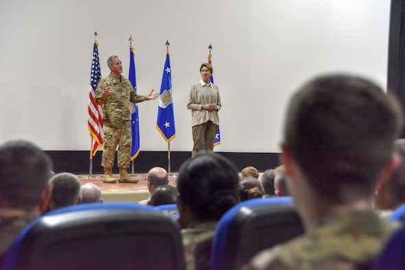Secretary of the Air Force Barbara Barrett and Air Force Chief of Staff Gen. David L. Goldfein speak to Airmen during an all-call at Al Udeid Air Base, Qatar on Nov. 18, 2019. During the all-call, Barrett and Goldfein spoke to readiness, lethality and the future of the U.S. Air Force. During their visit the Air Force leaders also met with AUAB and Qatari leadership, and visited Airmen and the facilities where they work and live. (U.S. Air Force photo by Tech. Sgt. John Wilkes)