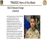"""SSG D'Edward Hodge (1-210th AV/128th AB) is a 15N Instructor serving as the Standardization NCO in Training Management and also serves as the Company Equal Opportunity Liaison. He recently led his entire team to achieving a """"commendable"""" rating for their Company EO Program and was selected by the Battalion ICI Team as the top program/individual inspected. SSG Hodge also serves as a leader in our community where he volunteers as the football coach for the """"Tyler Tigers"""", a 10U youth football team in the Newport News City league."""