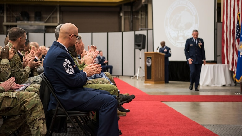 Maj. Gen. Stephen N. Whiting, former Combined Force Space Component Command and 14th Air Force commander, receives applause after speaking during the CFSCC and 14th AF change of command ceremony Nov. 20, 2019, at Vandenberg Air Force Base, Calif. During the ceremony, Whiting gave his final remarks as commander of the CFSCC and 14th Air Force, and thanked coalition and U.S. service members for their efforts to defend allied and partner nations. (U.S. Air Force photo by Airman 1st Class Aubree Milks)
