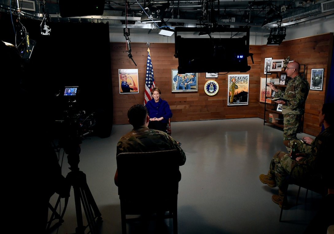 Secretary of the Air Force Barbara Barrett conducts her first Air Force TV interview to Airmen at the Pentagon, Arlington, Va., Oct. 24, 2019. (U.S. Air Force photo by Wayne Clark)