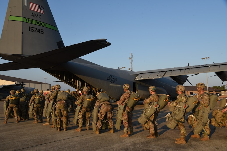 Soldiers board a C-130J flown by the 327th Airlift Squadron, Little Rock Air Force Base, Arkansas, during Exercise Arctic Anvil in October. (U.S. Air Force photo by Jessica L. Kendziorek)