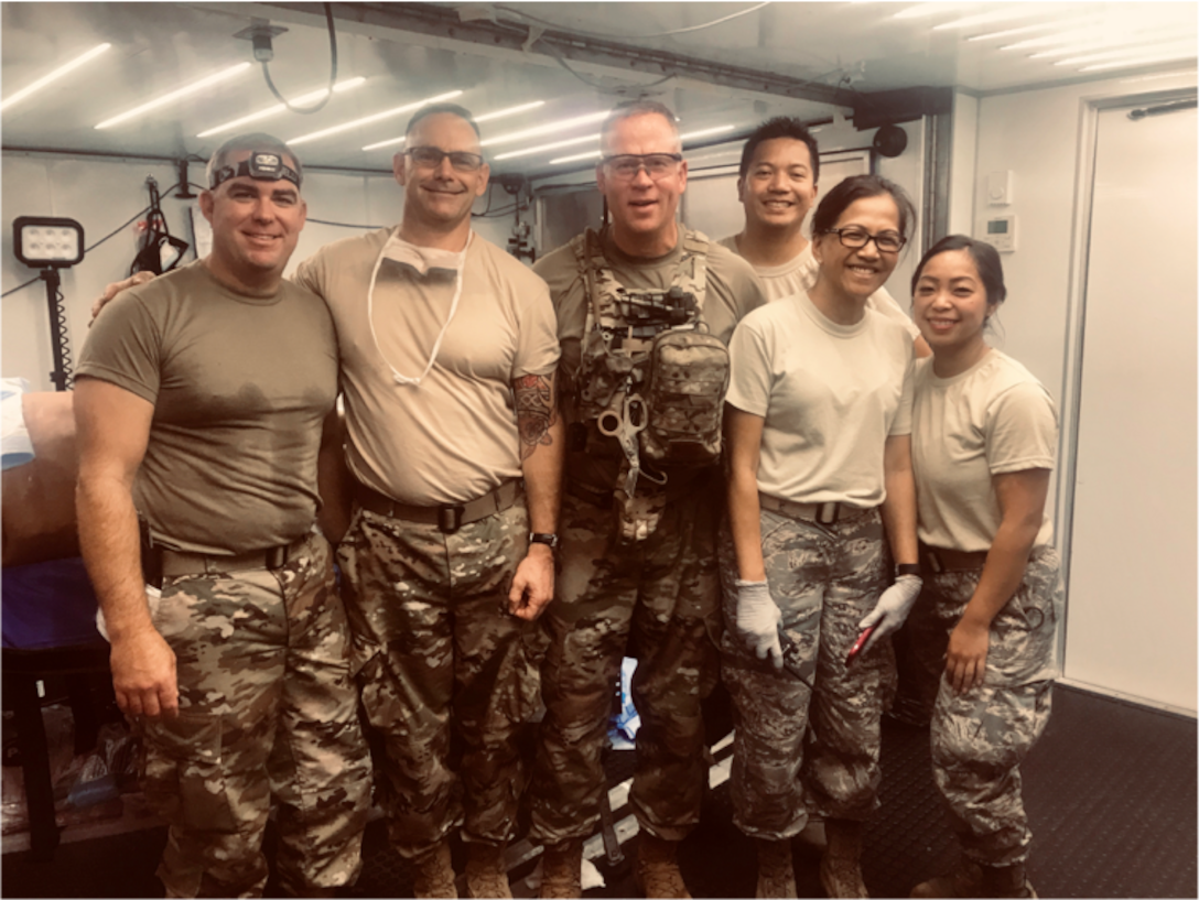 Left to Right, Lt. Col. (Dr.) Sean Martin, Maj. Jason Vallot, Lt. Col. (Dr.) Jesse Wells, Capt. Llewy Rimular, Lt. Col. Jessica Arcilla and Tech Sgt. MaryLou Ancheta of the 349th Medical Squadron, Travis Air Force Base, California, comprise the first team of Air Force Reservists to complete the Air Force's new Ground Surgical Team training course. (Courtesy photo)