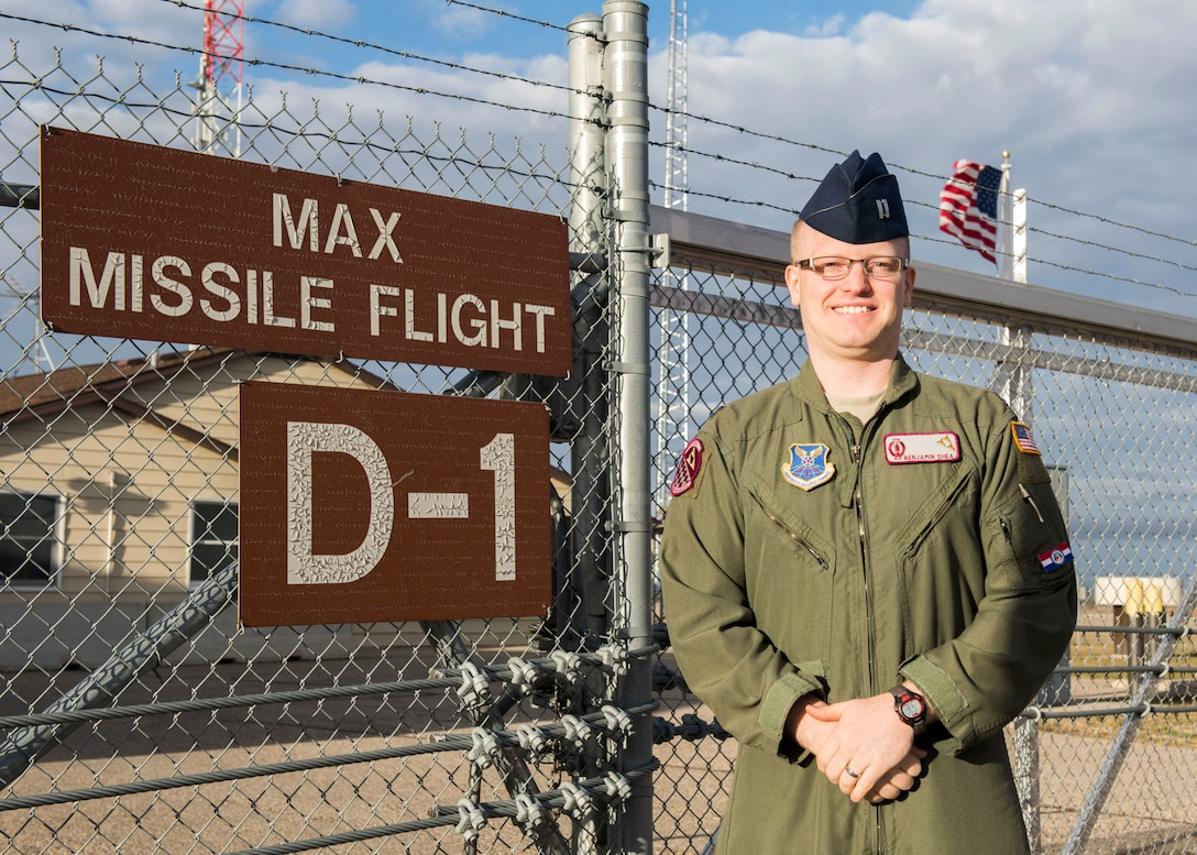 Shea, an individual mobilization augmentee assigned to the 91st Operations Support Squadron, stands outside Missile Alert Facility Delta-01 at Max, North Dakota, Oct. 26. (U.S. Air Force photo by Senior Airman Alyssa M. Akers)