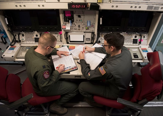Capt. Ben Shea, left, and 2nd Lt. Taylor Yost review missile alert facility checklists during Shea's first alert as an individual mobilization augmentee. (Photos by Senior Airman Alyssa M. Akers)