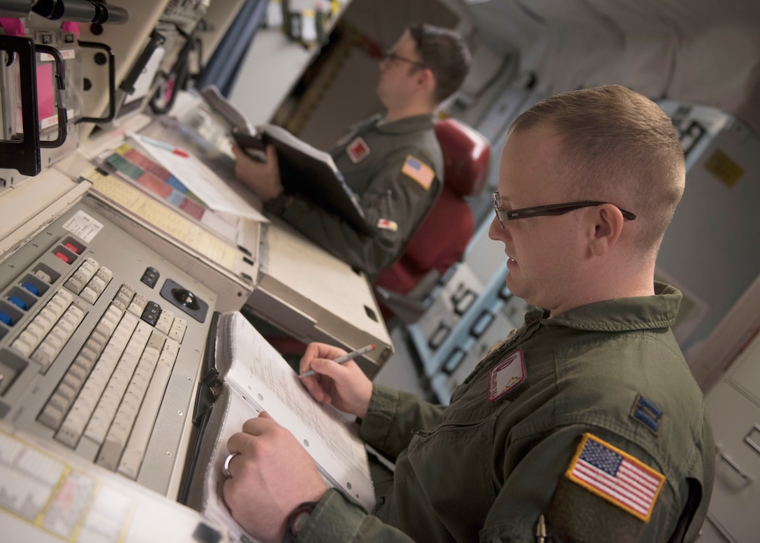 Capt. Ben Shea, right, and 2nd Lt. Taylor Yost review missile alert facility checklists during Shea's first alert as an individual mobilization augmentee. (Photos by Senior Airman Alyssa M. Akers)