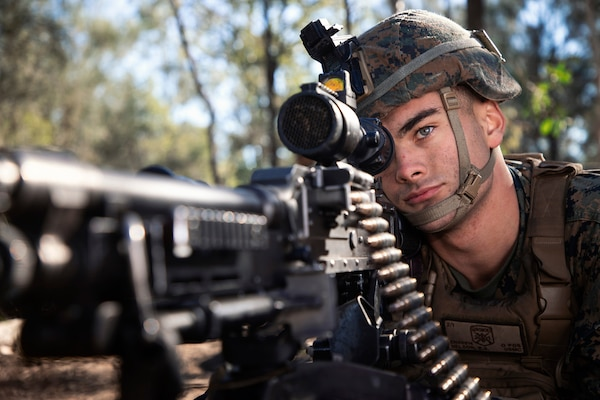 Marine keeps watch during Talisman Sabre exercise, Shoalwater Bay Training Area, July 16, 2019 (Australian Defence Force/Jake Sims)