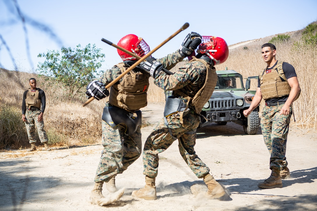U.S. Marines fight during the culminating event of Martial Arts Instructor Course 4-19 on Marine Corps Base Camp Pendleton, California, Nov. 6, 2019. The three-week MAIC is a knowledge-driven course that teaches Marines how to build and execute the ethical warrior mindset through training and mentoring.