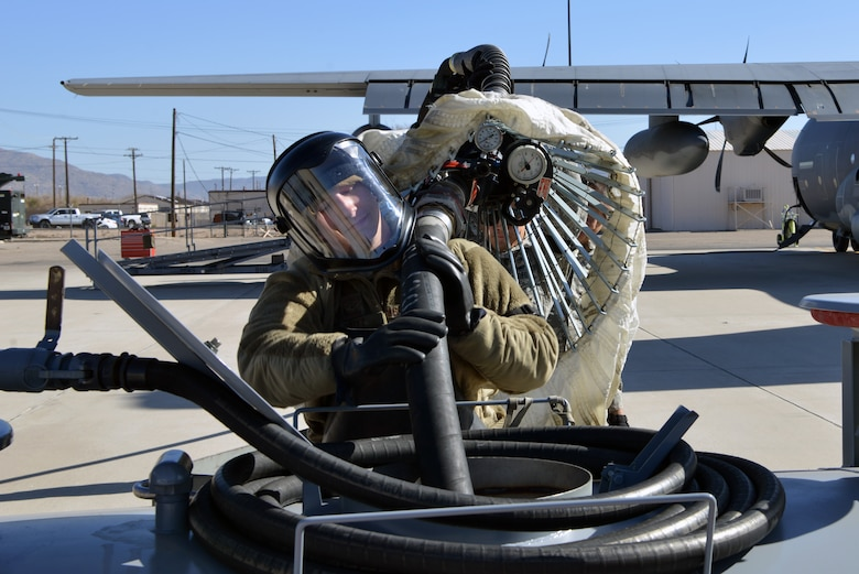 U.S. Air Force Airman 1st Class Jarrett Hoyt, 415th Aircraft Maintenance Unit hydraulics specialist, drains fuel from the inflight refueling pod on a HC-130J Combat King II on the flight line at Kirtland Air Force Base, N.M., Nov. 14, 2019.  The 415 AMU is responsible for all maintenance on the MC-130J Commando II and HC-130J Combat King II aircraft assigned to keep them mission ready for the 415th Special Operation Squadron.