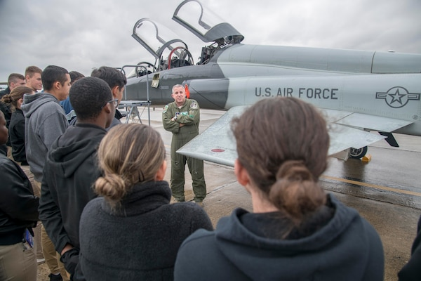 The cadets gained insight from officers in different career fields, attended a 902nd SFS military working dog demonstration, and toured the 558th and 560th Flying Training Squadrons
